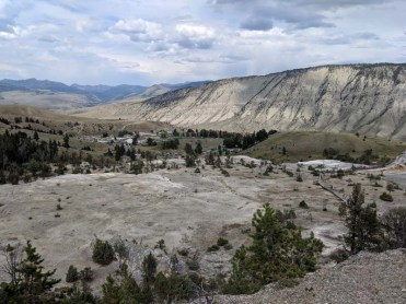 Looking down at the visitor center and resort from Mammoth Hot Springs