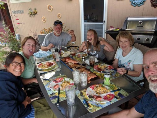 Family din din of salmon Jerry caught on the Columbia River