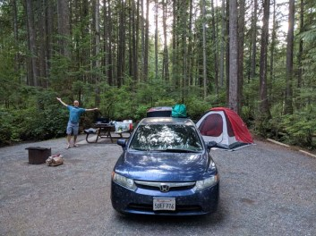 Sleep spot in the Rolley Lake Provincial Park campground outside of Mission