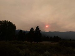 Forest fires make for a spooky sunset on our way into northern CA