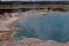 The boardwalk at the Midway Geyser Basin
