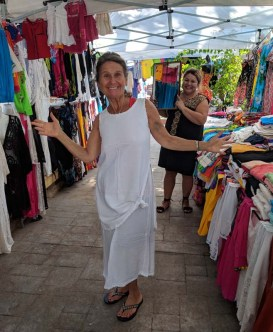 Deb modeling her new purchase at the La Cruz Market