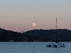 Moonrise over S/V Shazam