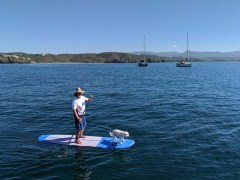 Tom taking Daisy for a paddle