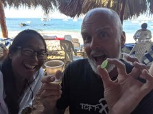 Everyday at closing time, Tina, the proprietor of the Paraíso Escondido palapa, broke out a bottle of tequila for the patrons. Yow.