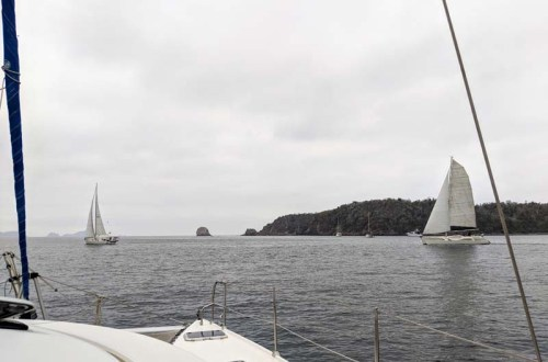 Jaded and Bonzer racing out of the anchorage at Tenacatita