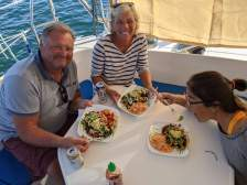 Sharing huaraches with Ken and Sheri of S/V Cake