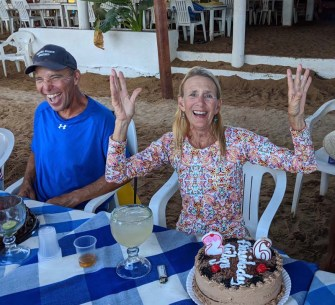Vicki of S/V Bonzer (with hubby Michael) celebrates a bday on Isla Ixtapa, March 2020