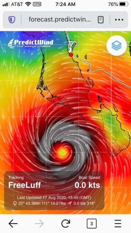My birthday hurricane Genevieve, August 2020