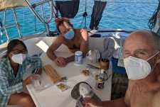 Cards and masks at Marquer with David of S/V Jean Butler