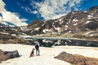 Adorra mountains, hikker and dog