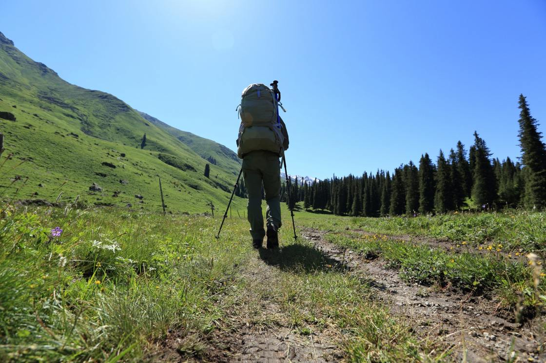 Trekking on high altitude trails