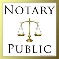Image of scales of justice and the words notary public with gold border