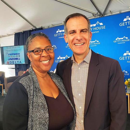 Larcenia L. Freeman with Mayor Garcetti