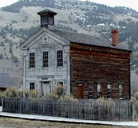 The Lodge as it stands today in Bannack State Park.  Photo courtesy of W:.Bro.F. Lee Graves, PM.