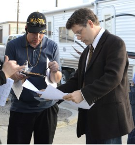 Joseph James and Sean Astin conferring on the set of The Freemason
