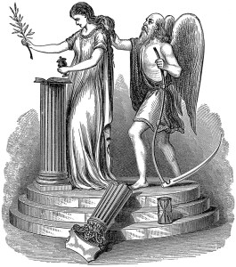 Time, broken column, masonic symbol, acacia, death, combing the virgins hair