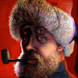 Selfportrait With Pipe In Red