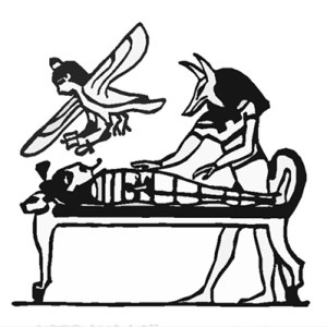 Osiris being awakened by Anubis while his soul hovers above, about to return to the body. Note the bier in the form of a Lion.