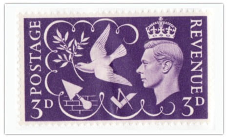 """King George VI """"Victory"""" Stamp King George VI (the present Queens father) was a committed, enthusiastic Freemason. He held the most senior ranks in our Order. At the end of the second world war he insisted that the contribution of the Freemasons be recognised, more especially those who fell. Postage stamps issued in 1946."""