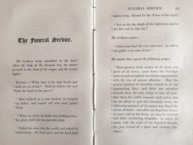 The Masonic Funeral Service as set out by The Grand Lodge of
