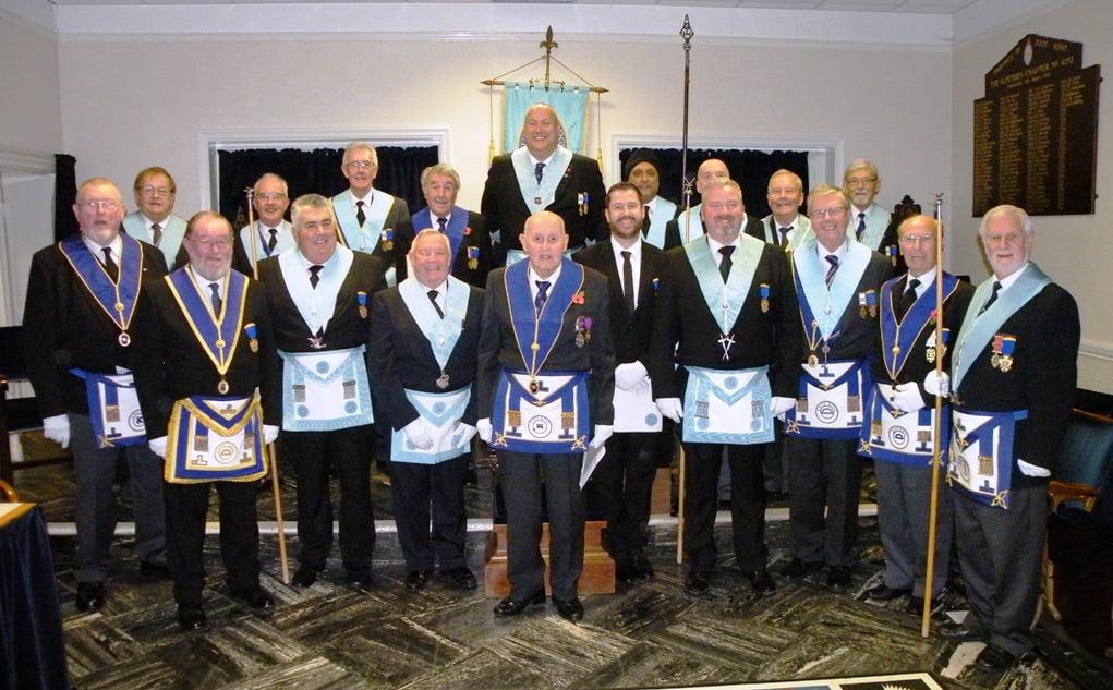 The members of Gundulph Lodge proudly wearing their Tercentenary Jewels.