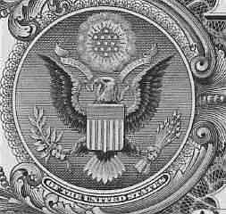 Eagle seal on the back of a dollar bill