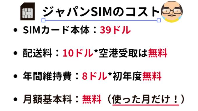 ジャパンSIMカードのコスト
