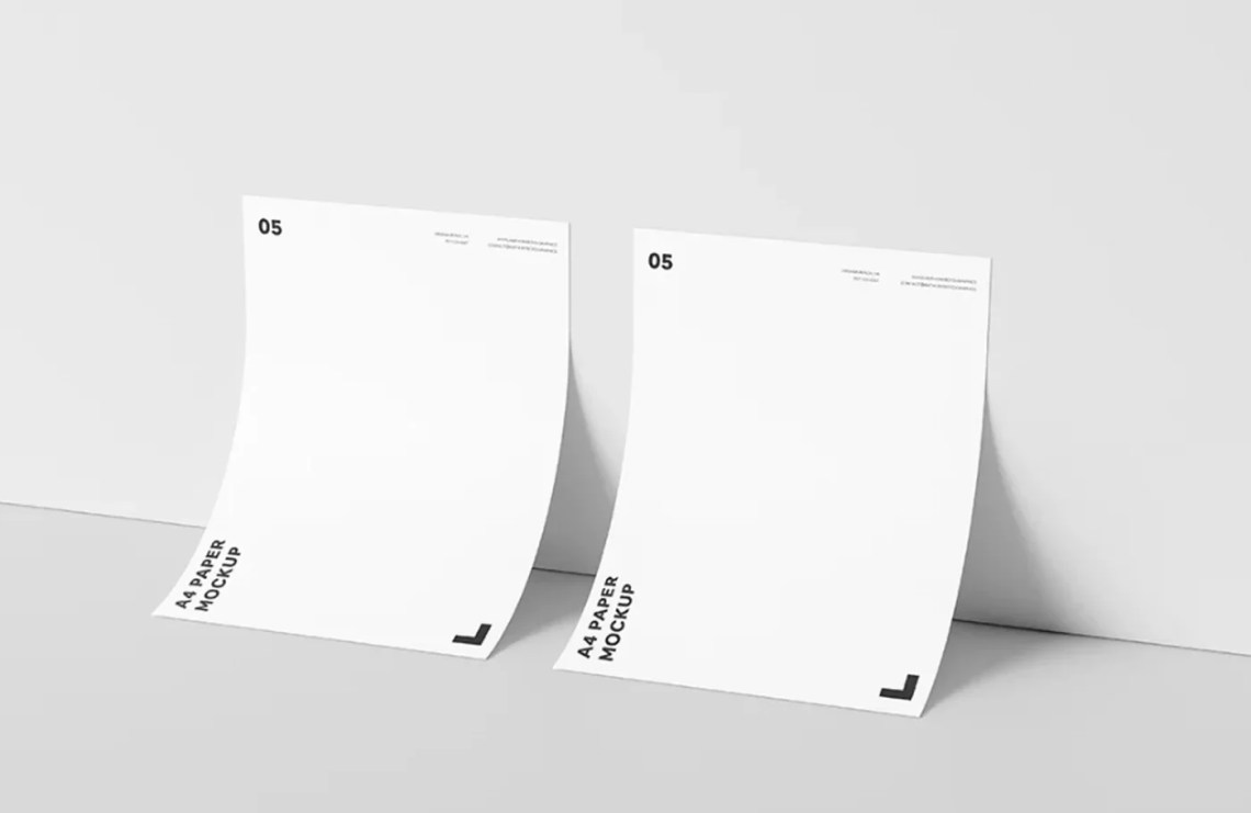 Download A4 Paper Against Wall- Free PSD Mockup - FreeMockup.net