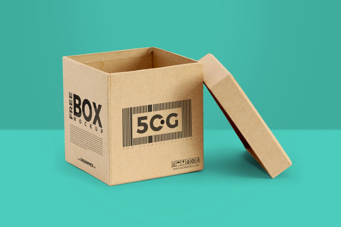 Download Free Packaging Box Mockup with Open LidFree Mockup Zone