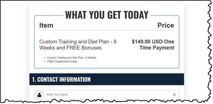 How much is V Shred Custom Diet and Training Plan for Him