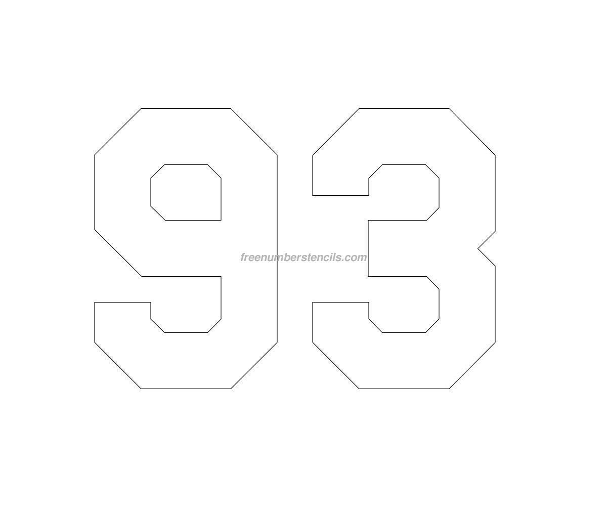 Free Hockey 93 Number Stencil