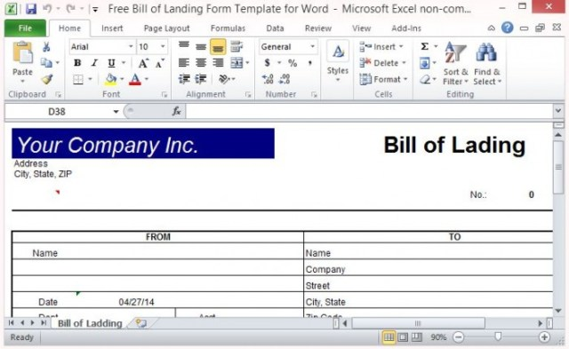 5 Free Bill of Lading Templates  Excel PDF Formats