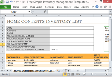 inventory template simple excel office management furniture appliances items