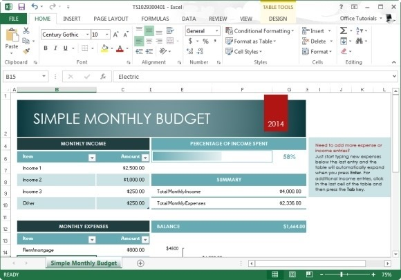 Free Monthly Budget Template For Excel 2013