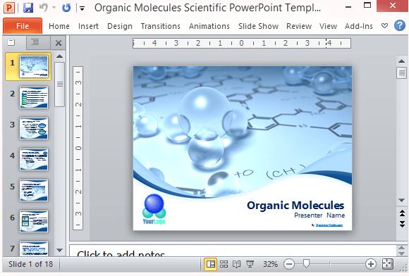 Organic Molecules Scientific PowerPoint Template
