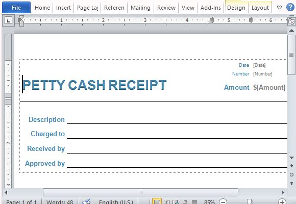Image result for Petty Cash Receipt Template