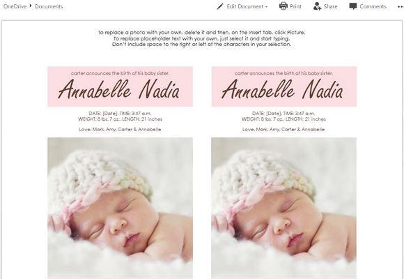 online birth announcement template