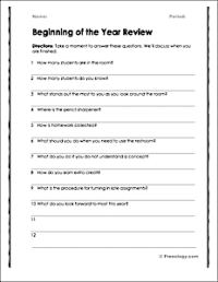 Classroom Procedures Review Worksheet - Freeology