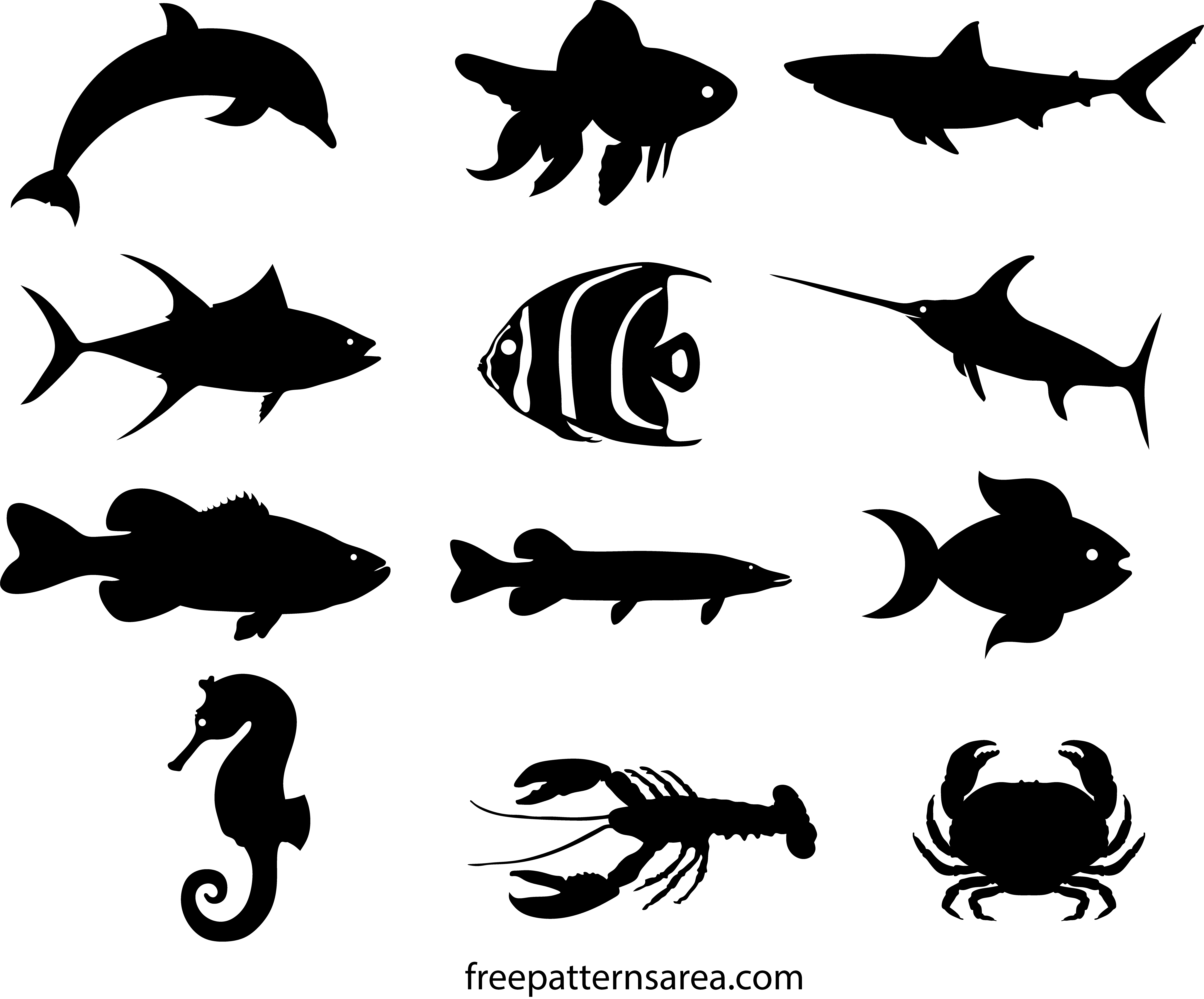 Fish Silhouette Vectors & Printable Templates