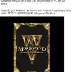 Elder Scrolls 3 MORROWIND Game Free for PC