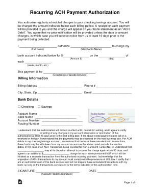 Recurring credit/debit card payment authorization form i authorize the oregon judicial department (ojd) to make recurring charges to my credit/debit card. Recurring Ach Authorization Payment Form Template Free Download Free Pdf Books