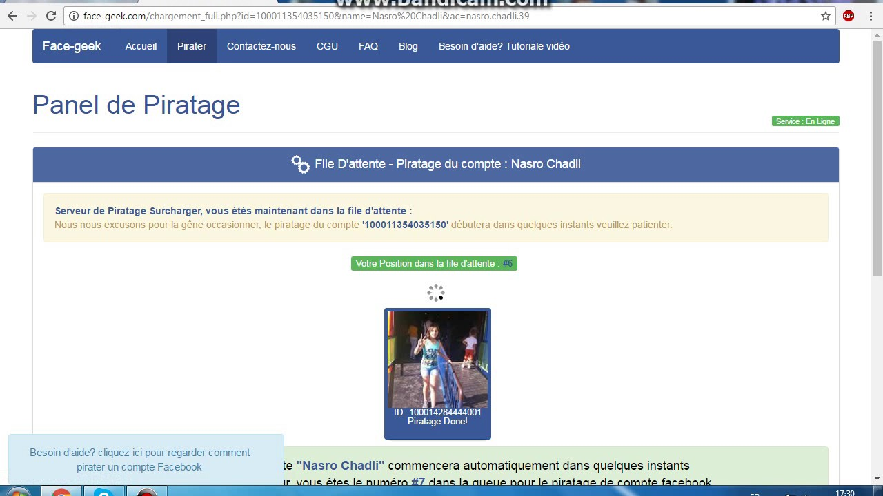 Way 2: With the help of Facegeek hack Facebook account and get out its password