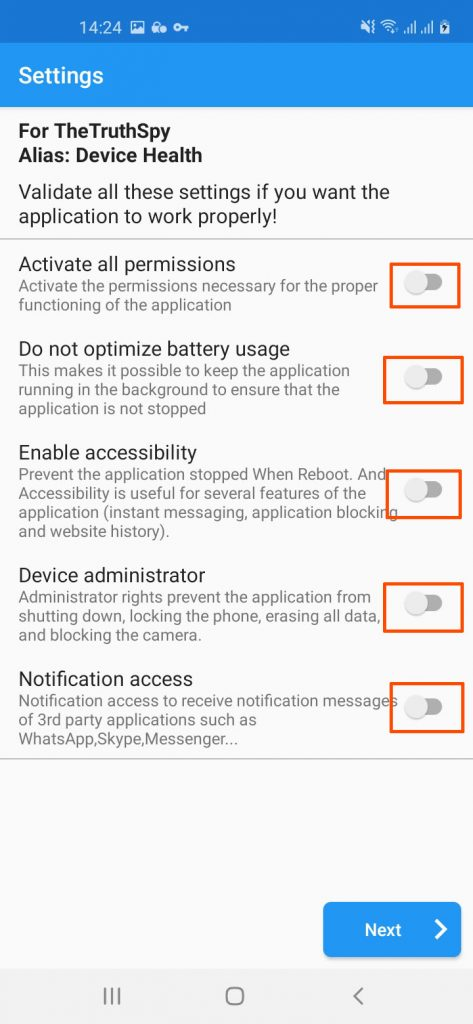 Step 2: Enable all setting of Free Phone Spy app