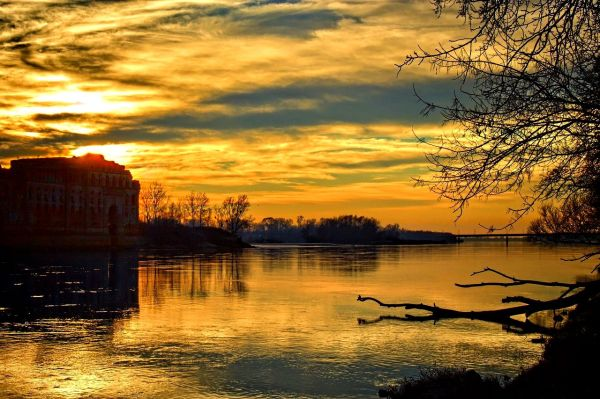 beautiful sunset over river-free