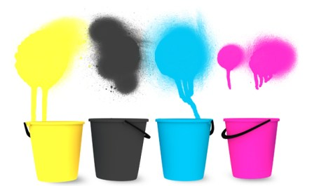 CMYK Buckets and Paint Sprays