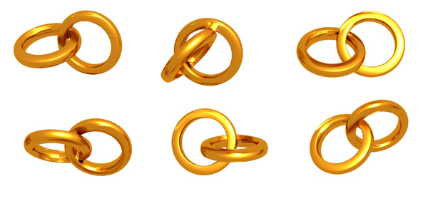 Golden Wedding Rings PSD and Picture