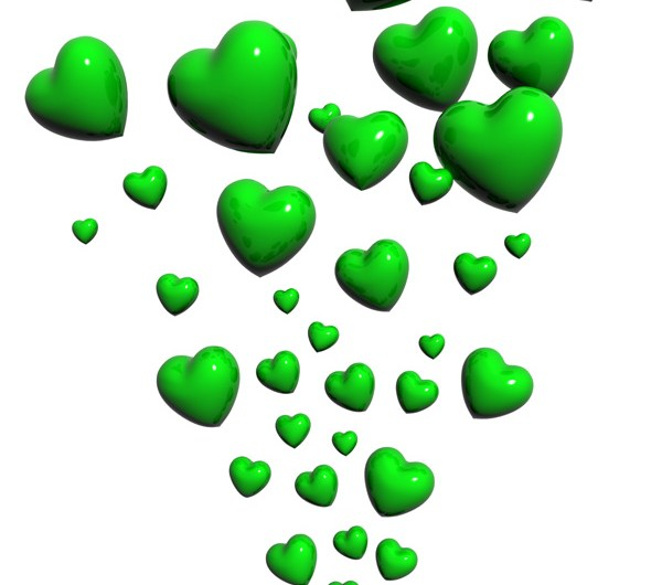 Green Hearts Flowing PSD and Picture