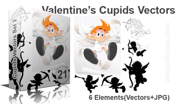 Valentine Cupid Vectors, Brushes, PNG & Pictures