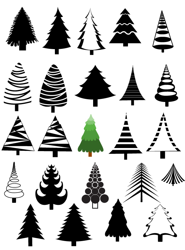 Christmas Trees Vectors, Brushes, Shapes, PNG & Picture ...